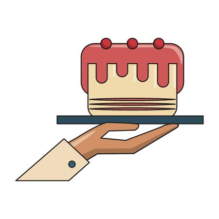 restaurant food and cuisine hand holding a food tray with cake with cherries icon cartoons vector illustration graphic design Standard-Bild - 129858360