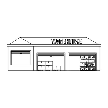Warehouse storage with delivery boxes inside vector illustration  イラスト・ベクター素材