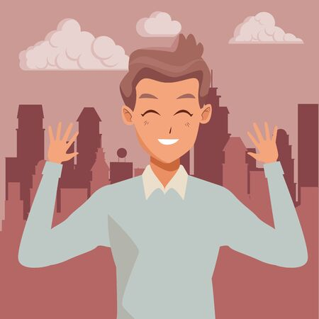Young man greeting with formal clothes cartoon in the cirty, urban scenery background ,vector illustration graphic design. Ilustração