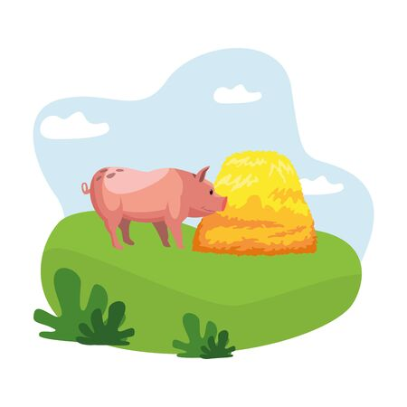 farm, animals and farmer pig with hay icon cartoon over the grass with bush and clouds vector illustration graphic design Standard-Bild - 129858366