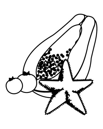 exotic tropical fruit with papaya, bluberries and decorated with starfish icon cartoon in black and white vector illustration graphic design Standard-Bild - 129858368