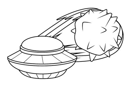 space exploration flying saucer and comet in black and white icon cartoon vector illustration graphic design 일러스트