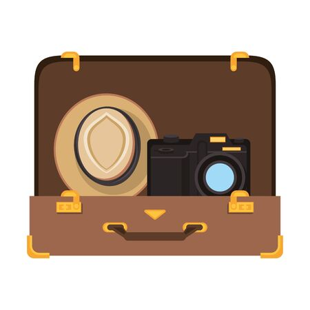 Travel vacations suitcase open with hat and camera cartoons