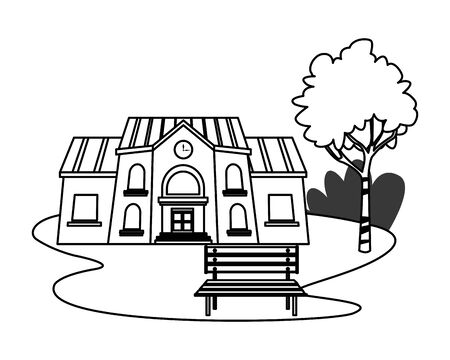 School building in park with bench vector illustration graphic design  イラスト・ベクター素材