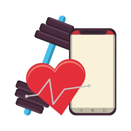 fitness equipment workout health and cardiology app smartphone and scale symbols vector illustration graphic design