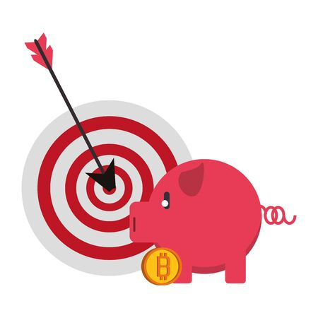 Bitcoin cryptocurrency dartboard target and piggy with coin symbols vector illustration graphic design Çizim