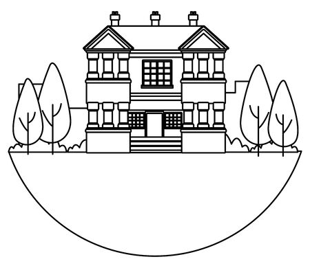 Classic and vintage big house building real estate with trees and garden in black and white vector illustration graphic design.