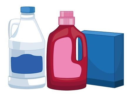 laundry wash and cleaning detergent bottle and box and bleach icon cartoon vector illustration graphic design Ilustrace
