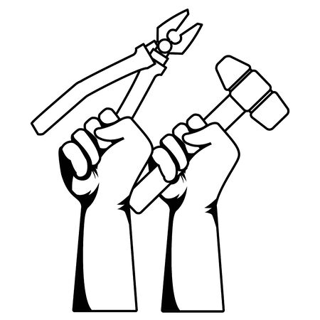 Construction workers hands holding plier and mallet tools vector illustration graphic design.  イラスト・ベクター素材