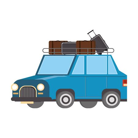 Car with luggage on top vehicle isolated vector illustration