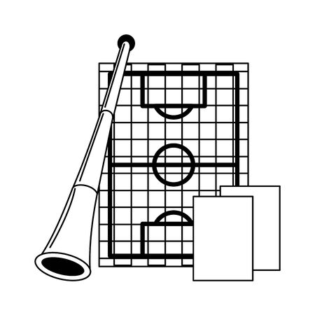 Soccer sport game horn playfield and referee cards isolated vector illustration graphic design