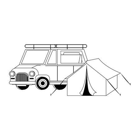 Travel vacations and summer camping tent with car cartoons vector illustration vector illustration graphic design Иллюстрация