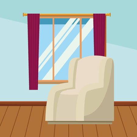 House sofa armchair with window and curtains home building interior scenery with wooden floor ,vector illustration graphic design. Ilustração