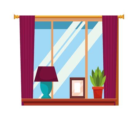 House window with light lamp picture and plant pot on shelf vector illustration graphic design Illusztráció
