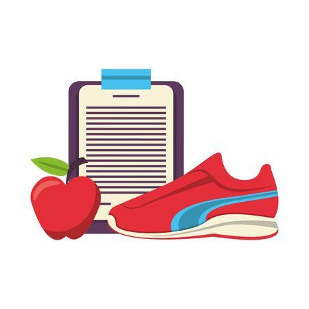 Fitnessgeräte Workout Gesundheit und Logbuch Apfel mit Tennissymbolen Vektor-Illustration Grafikdesign Vektorgrafik