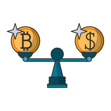 Cryptocurreny and money in balance symbol isolated vector illustration graphic design Ilustrace
