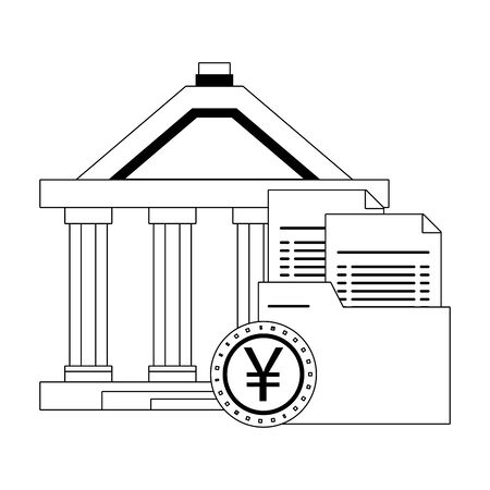 Bank building with folder and yen coin symbol in black and white vector illustration Иллюстрация