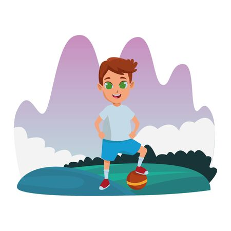 child having fun and playing with ball at nature outdoors splash scenery vector illustration graphic design Иллюстрация