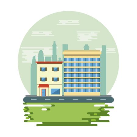 Urban buildings and park with cityscape scenery round icon vector illustration graphic design Vectores
