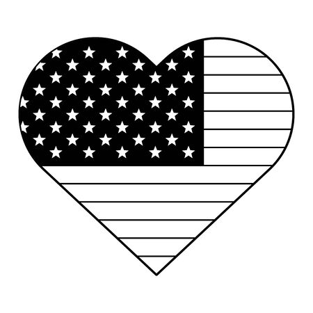 usa american independence 4th july patriotic happy celebration united states heart flag isolated cartoon vector illustration graphic design