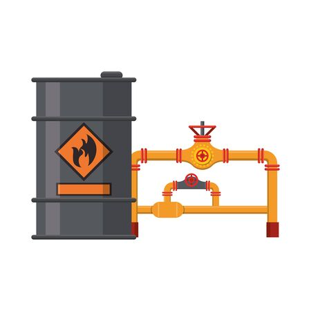 Oil barrel and fuel pipelines symbols vector illustration graphic design