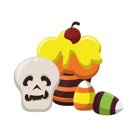 halloween october scary celebrationm skull cupcake with candys cartoon vector illustration graphic design Иллюстрация