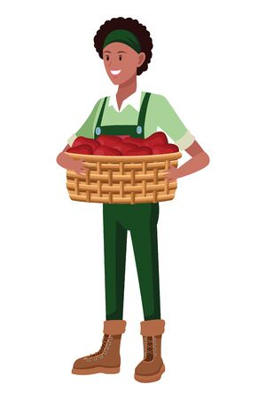 farm, animals and farmer afroamerican woman with overall, bandana, boots and holding a wicker basket avatar cartoon character vector illustration graphic design