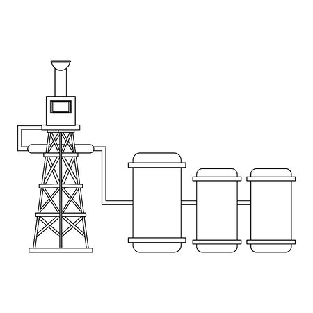 oil refinery gas factory industry petrochemical petroleum oil rig plant cartoon vector illustration graphic design