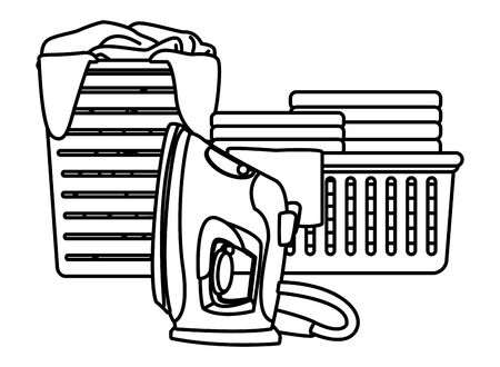 laundry wash and cleaning clothes iron, folded clothes in a cleanlines basket and dirty clothes in a basket icon cartoon in black and white vector illustration graphic design