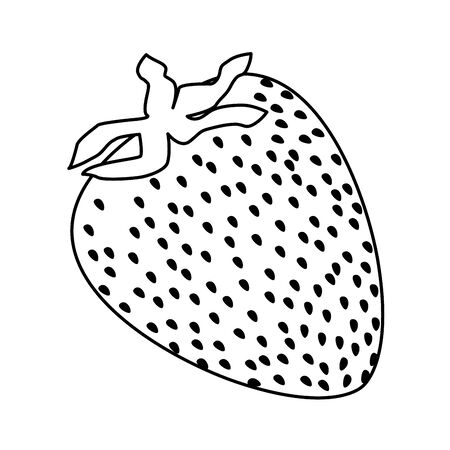 exotic tropical fruit strawberry icon cartoon in black and white vector illustration graphic design Standard-Bild - 129859374