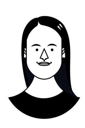 Woman face cartoon profile vector illustration graphic design Illustration