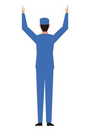 industry manufacturing worker raised hands cartoon vector illustration graphic design Stock Illustratie