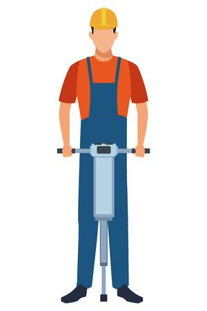 Construction worker with driller vector illustration graphic design