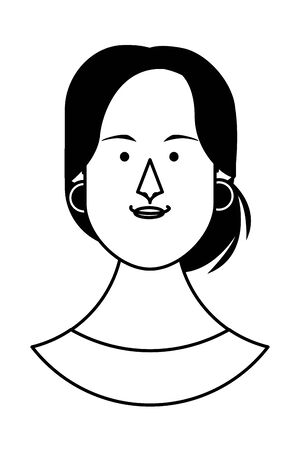 Woman with earrings face cartoon profile vector illustration graphic design