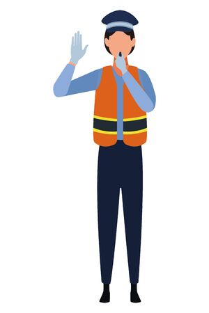 Transit agent woman with whistle profession avatar vector illustration graphic design Ilustracja