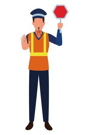 Transit agent with roadsign and whistle profession avatar vector illustration graphic design Illusztráció