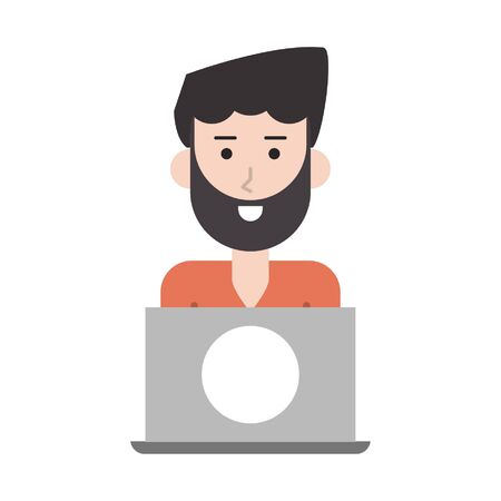 man with laptop icon cartoon vector illustration graphic design
