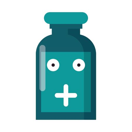 Medicine bottle smiling cute cartoon vector illustration graphic design Illusztráció