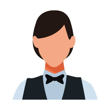 Waiter woman restaurant avatar profession vector illustration graphic design Ilustração