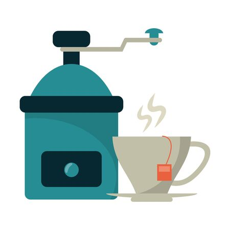 Coffee grinder and mug with tea bag vector illustration graphic design
