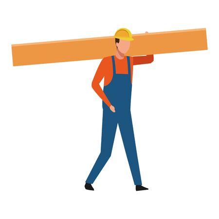 Construction working holding wooden plank vector illustration graphic design Stock fotó - 130137173