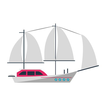 Sail boat ship sideview cartoon isolated vector illustration graphic design Stok Fotoğraf - 129877179
