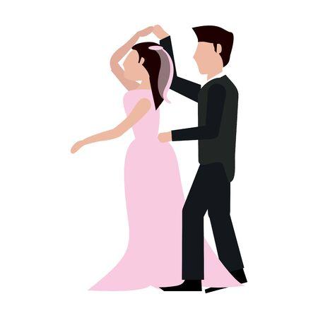 Wedding couple dancing cartoon isolated vector illustration graphic design Иллюстрация