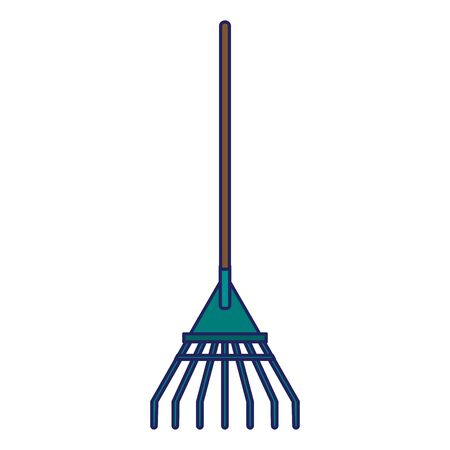 Rake garden tool isolated icon ilustration vector