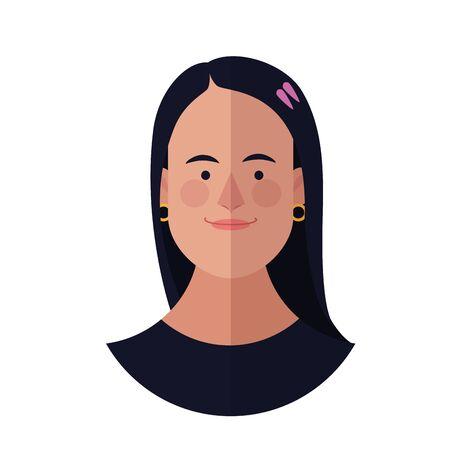 Woman face cartoon profile vector illustration graphic design Ilustração