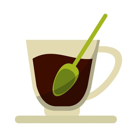 Hot coffee cup with spoon cartoon vector illustration graphic design Archivio Fotografico - 130137204