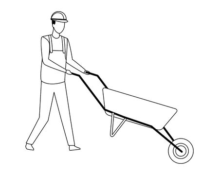 Construction worker with shovel vector illustration graphic design