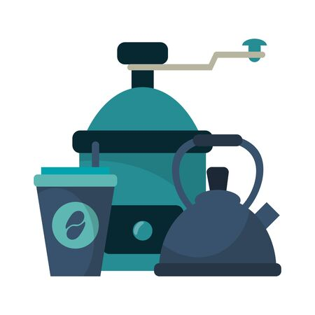 Coffee grinder and kettle with cup to go vector illustration graphic design