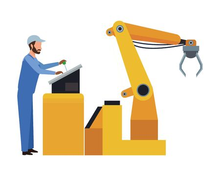 industry factory manufacturing coworker with heavy machine cartoon vector illustration graphic design Stock Illustratie