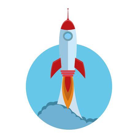 rocket taking off cartoon vector illustration graphic design Illustration